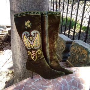 A Marinelli Olive Velvet Boots